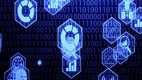 Big Data Icon Set in Hexagon Border Hovering on The Randoming Binary Code Background with Blue Lighting Camera Panning