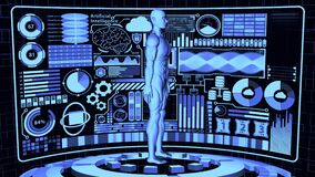 3D Rendering Humanoid/Human-like AI robot with Futuristic Detailed HUD and Digital Circles base stand in Abstract Background