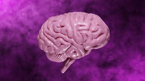 3D rendering Realistic Brain made of particles Rotating with Light Pink tinted on Abstract Moving Pink Background