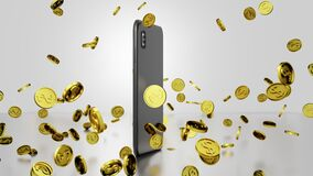 Seamless Loop E-commerce 3D render Smartphone Rotating and Golden Coins Falling and Bouncing with Abstract Video Display on Screen