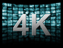 4k resolution tv concept. Television 4k resolution technology concept isolated on black Stock Photography