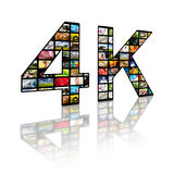4k resolution tv concept. Television 4k resolution technology concept isolated on white Royalty Free Stock Images
