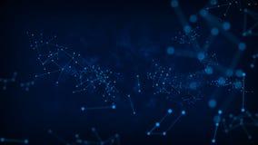 4K resumen el círculo del punto del fondo con la conexión para la red futurista cibernética conectan concepto con oscuridad y el  ilustración del vector