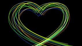 4k resumen la línea de neón resplandor del amor del corazón llevado casandose el fondo del día de tarjetas del día de San Valentí stock de ilustración