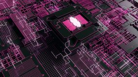 4K Reveal of a futuristic CPU chip and motherboard.