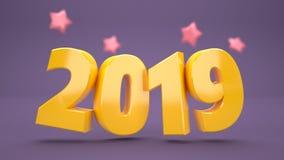 4k rialstic 3d New Year Wallpaper 2019 stock illustration