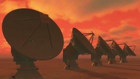 4k riflettori parabolici, grande nuvola radiofonica di intervallo di Osservatorio-Time a partire dal giorno alla notte video d archivio