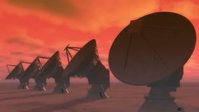 4k riflettori parabolici, grande nuvola radiofonica di intervallo di Osservatorio-Time a partire dal giorno alla notte archivi video