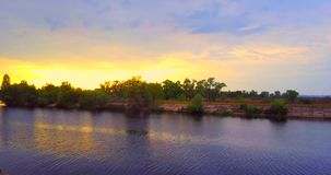 4K River Aerial and sunset, Drone stock video