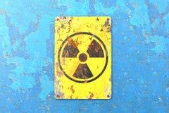 K?rnkraftsanl?ggning tecken som h?nger p? en bl? v?gg Indikering av n?rvaron av ett radioaktivt omr?de vektor illustrationer