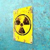 K?rnkraftsanl?ggning tecken som h?nger p? en bl? v?gg Indikering av n?rvaron av ett radioaktivt omr?de stock illustrationer