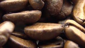 4k Roasted feijões de café gerencie Ingrediente do frescor para para preparar um café video estoque