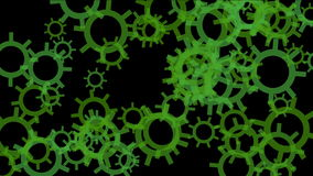 4k rotating green gears wheel systerm,abstract industry background. stock video
