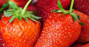 4k Rotation of delicious strawberry. stock footage
