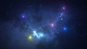 4K ruimteanimatieachtergrond met nevel, sterren De Melkweg, de Melkweg en de Nevel Grafische motie en animatie backgroun royalty-vrije illustratie