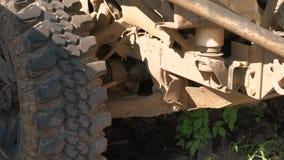 4k. Rusty part of a car part, hub. Car repair in a service station