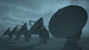 4k Satelite Dishes,Large Radio Observatories-Time Lapse cloud from day to night. 4k Satelite Dishes at dusk,Very Large Radio Observatories-Time Lapse cloud,from stock illustration