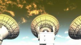 4k satelite dishes,large radio observatories,radar,outer space. 4k Satelite dishes at dusk,very large radio observatories,military radar,space exploration royalty free illustration