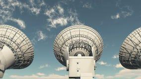 4k Satelite Dishes,Large Radio Observatories,Radar,outer Space. 4k Satelite Dishes at dusk,Very Large Radio Observatories,Military Radar,Space exploration stock illustration