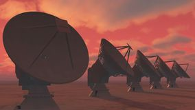 4k Satelite Dishes,Large Radio Observatories-Time Lapse cloud from day to night. 4k Satelite Dishes at dusk,Very Large Radio Observatories-Time Lapse cloud,from royalty free illustration