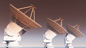 4k satellite dishes, large radio observatories-timelapse, radar,outer space. 4k satellite dishes at dusk, very large radio observatories-time lapse, military stock illustration