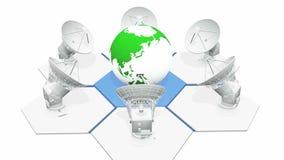 4k satellite dishes radar & rotate 3d green earth model, radio observatories. 4k satellite dishes radar & rotate 3d green earth model, radio observatories stock illustration