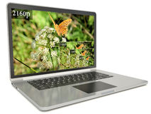 4k screen laptop computer with modern ultra hd resolution.  Stock Illustration