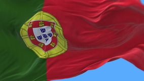 4k Close up of Portugal flag slow waving in wind.alpha channel included. stock illustration