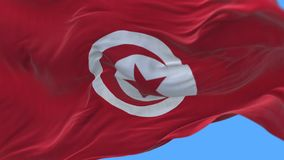 4k seamless Close up of Tunisia flag slow waving in wind.alpha channel included. 4k seamless Close up of Tunisia flag slow waving with visible wrinkles.A fully stock video footage