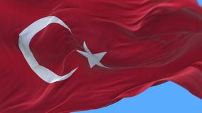 4k seamless Close up of Turkey flag slow waving in wind.alpha channel included. 4k seamless Close up of Turkey flag slow waving with visible wrinkles.A fully stock video footage