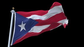 4k seamless Puerto Rico flag with flagpole waving in wind.A fully digital rendering,The animation loops at 20 seconds.flag 3D anim. Ation with alpha channel stock video