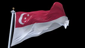 4k seamless Singapore flag waving in wind.alpha channel included. royalty free illustration