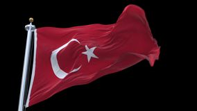 4k seamless Turkey flag waving in wind.alpha channel included. 4k seamless Turkey flag with flagpole waving in wind.A fully digital rendering,The animation stock video footage