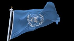 4k seamless United Nations flag waving in wind.alpha channel included. 4k seamless United Nations flag with flagpole waving in wind.A fully digital rendering stock video footage