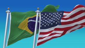 4k Seamless United States of America and Brazil Flags background,USA BRA.
