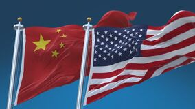 4k Seamless United States of America and China Flags blue sky background,USA CN.