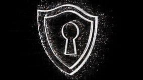 4k Security lock shield protection data encryption,Matrix binary computer code.