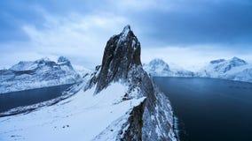 4K Segla山Timelapse在冬天,塞尼亚岛,挪威 股票视频