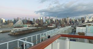 4k, The ship in the port of New York, -USA-New York-july 2016. stock video footage