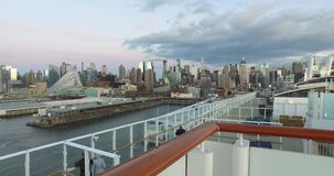 4k, The ship in the port of New York, -USA-New York-july 2016. stock video