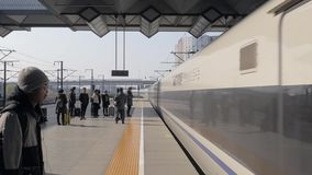 Shanghai, China- January 20, 2019. High speed bullet train arrival at Shanghai Railway Station platform. stock footage