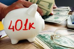 401k on a piggy bank. Savings for retirement. 401k on a side of piggy bank. Savings for retirement stock images