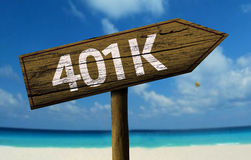 401k sign on the beach Royalty Free Stock Image