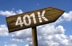 401k sign on the beach Stock Photos