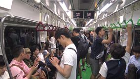 4K Signal the map metro Seoul inside the Subway whit travelers during trip