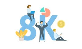 8K simili, insegna sociale online di media dei seguaci Concetto con le parole chiavi, le lettere e le icone Illustrazione piana d royalty illustrazione gratis