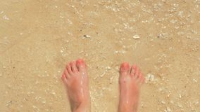 Top first person view of male feet standing on a sandy beach amongst the splashing surfs. Seen directly above. 4K slow motion first point view of man stands stock video