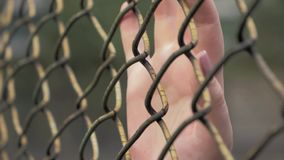 Close-up view of young woman`s hands slip on the metal mesh at fenced area. 4K slow motion shot of young woman`s hands slip on the metal mesh at fenced area stock video footage