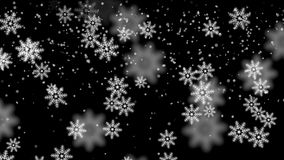4k Snowflake fall,winter snow background,romantic Christmas particle backdrop. stock video