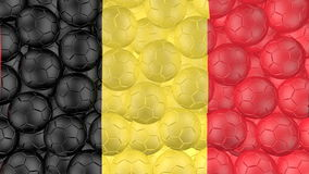 4K Soccer balls is falling down on a white and forming a belgium flag stock footage